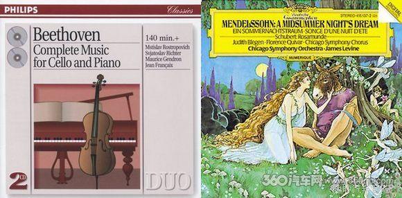 作为《贝多芬:大提琴奏鸣曲》的唱片封面,右为《门德尔松:仲夏夜之梦